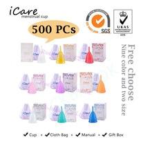 500 pcs Hot Wholesale Reusable Medical Grade Silicone Menstrual Cup Feminine Hygiene Product Lady Menstruation Copo BMC01PP