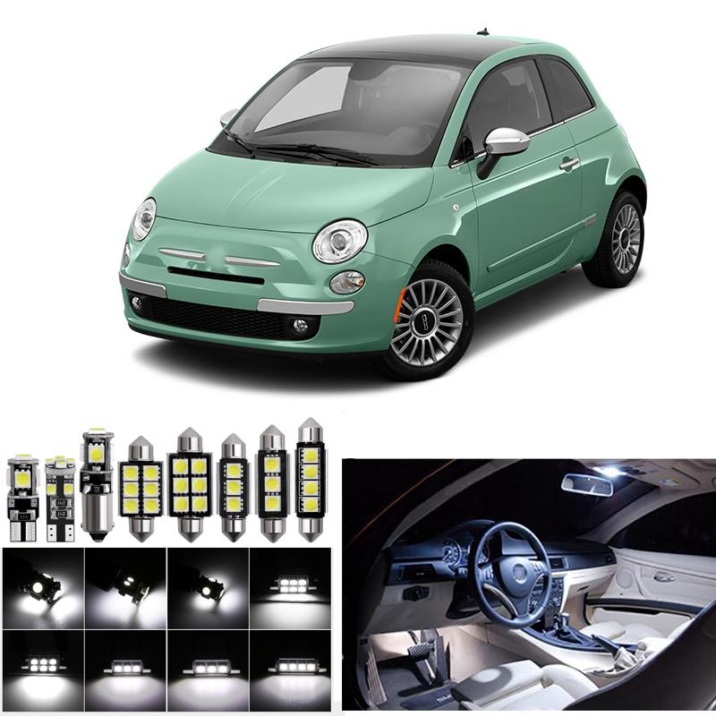 Kit de luz LED de 7 piezas para 2012-2015 Fiat 500 Canbus lámpara de coche blanca bombillas LED paquete Interior luz de la placa del maletero de la cúpula