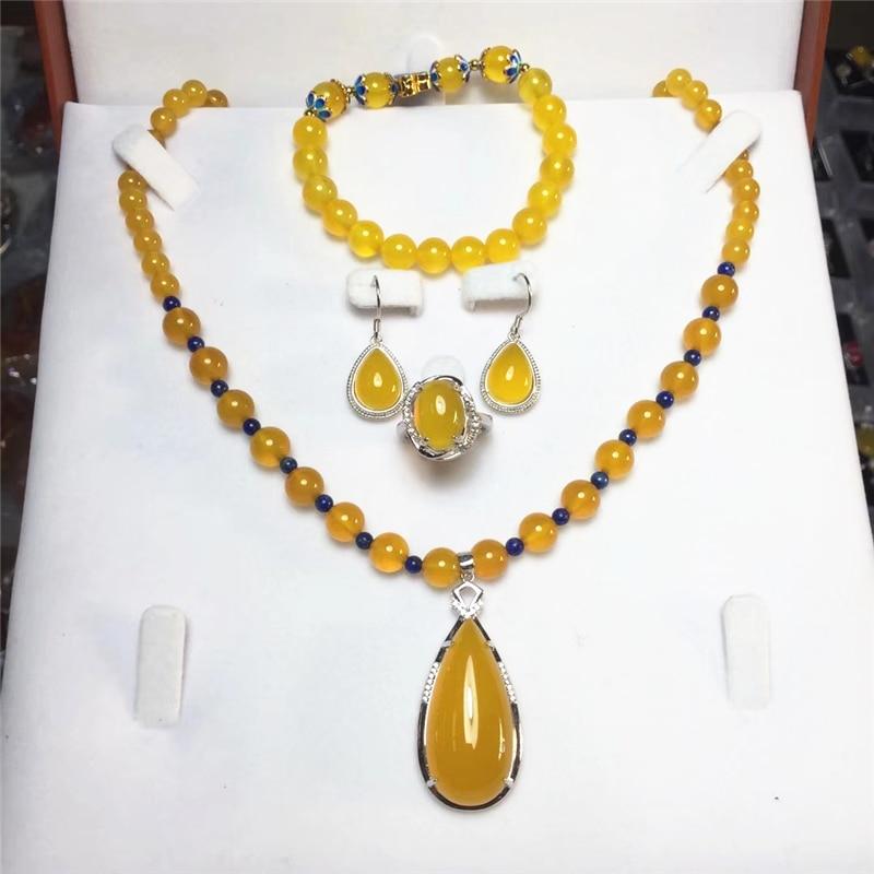 Jadery 4 pçs clássico étnico natural redondo verde amarelo jade topázio conjuntos de jóias para as mulheres luxo charme festa jóias finas 2019 novo