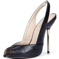 sexy party peep toe slingback stiletto iron heel women sandals zapatos de tacon para mujer punta abierta scarpe tacco yj3845 g11