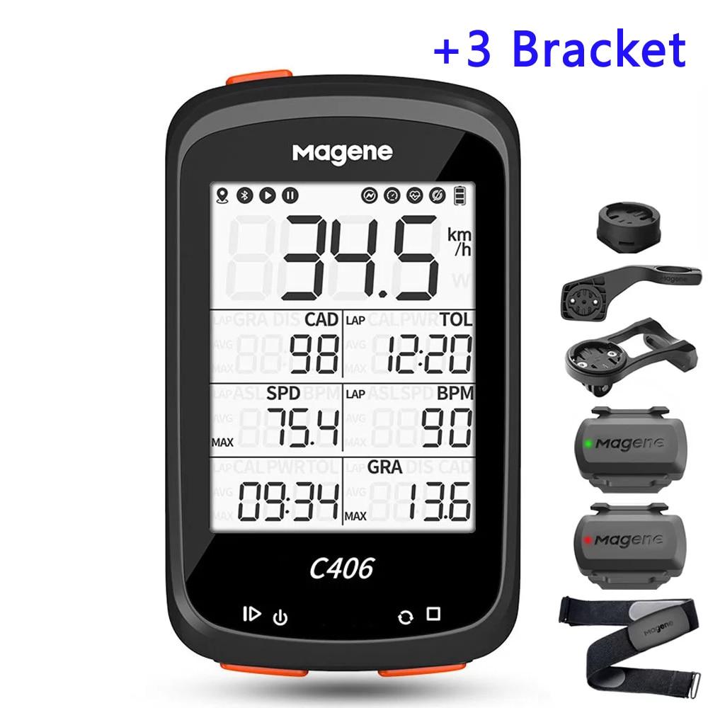 MAGENE C406 Bicycle Computer GPS Cyclocomputer MTB Bike Odometer Road Speedometer Wireless Cycling Digital Stopwatch W/3 Bracket