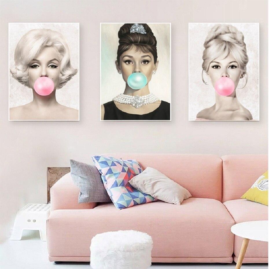 Pintura de lona nórdica femenina famosa Pared de estrellas arte niñas carteles de habitaciones imágenes pinturas estampados para decoración para sala de estar sin marco
