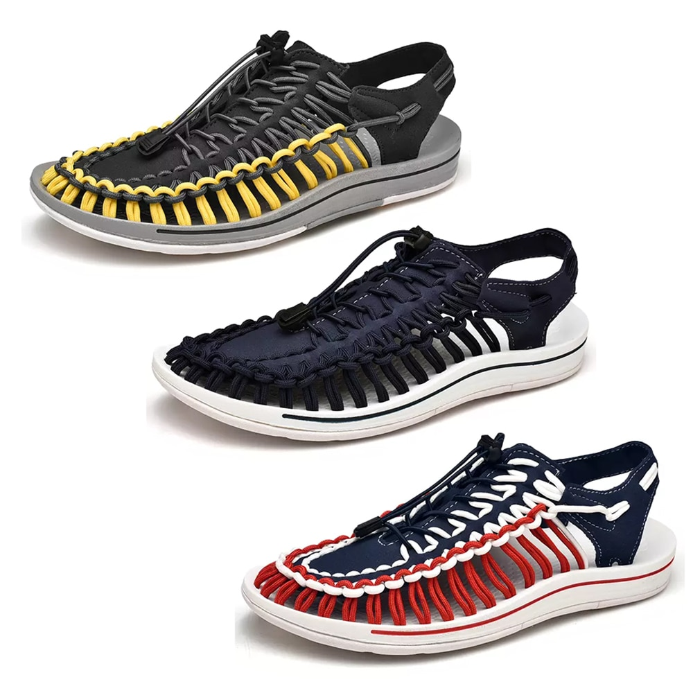 Summer Casual Beach Shoes Outdoor Lightly Sandals  Fashion Handmade Weaving Design Breathable For Men Big Size