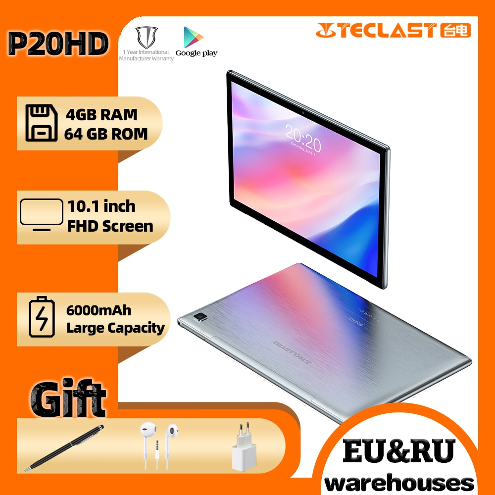 Teclast P20HD tablet 10.1inch Octa Core 4G Phone Call Android10 1920×1200 4GB RAM 64GB ROM Type-C AI-speed-up 6000mAh tablets PC