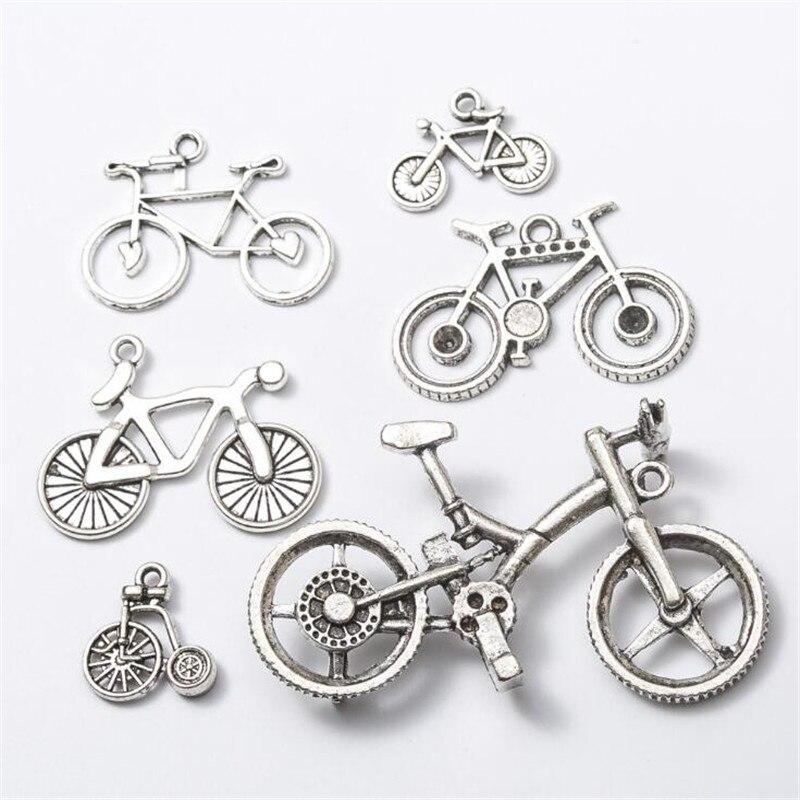 10 unids/bolsa Vintage Metal Retro Mini bicicleta dijes de bicicleta DIY accesorios de moda dijes colgantes para la fabricación de joyas