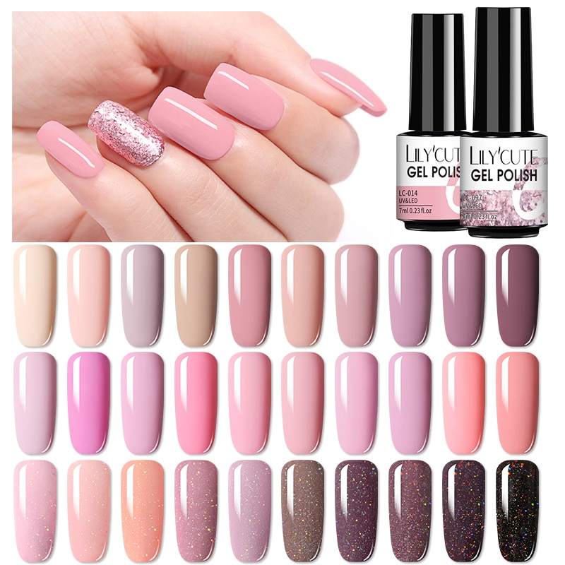Lilycute 7ml nude glitter uv gel unha polonês cor-de-rosa série led uv gel verniz semi permanente prego gel verniz