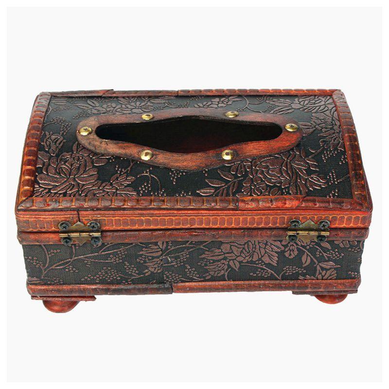 Retro Vintage anillo de cobre patrón papel de madera soporte para caja de pañuelos decoración nuevo rojo Retro