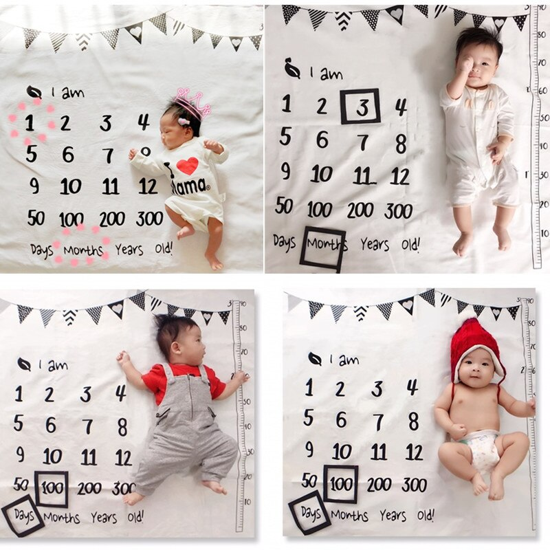 Baby Monthly Growth Milestone Blanket Newborns Photography Cloth Cartoon Pattern Towel Memory Carpet Children's Bedding