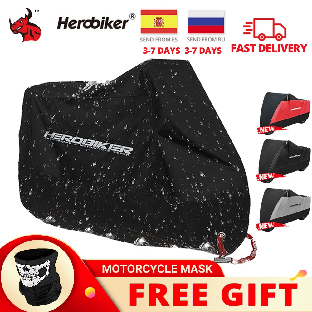 Водонепроницаемый чехол HEROBIKER для мотоцикла, всесезонный тент на мотороллер или скутер, защита от дождя, пыли, УФ