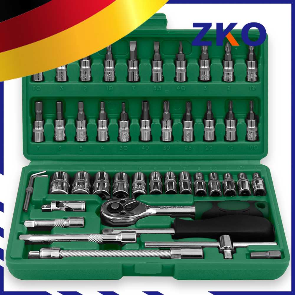 Home Hand Tool Set Mechanics Kit 46 Piece Precision Screwdriver DIY with Hard Case for Maintenance Work Repair