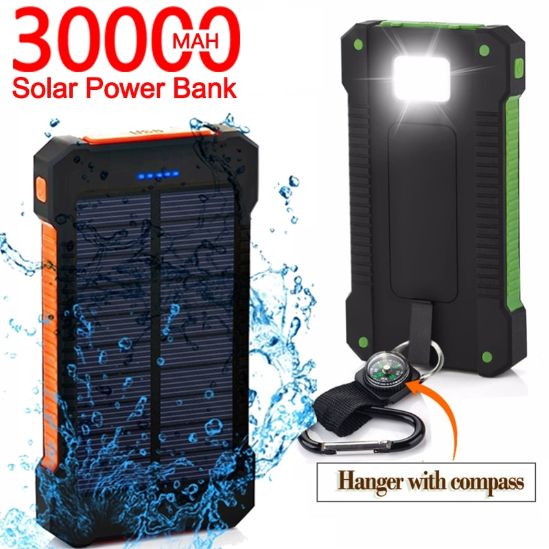 LED Outdoor Travel 30000mAh Solar Power Bank Portable Large-Capacity Mobile Phone Charger PowerBank for Samsung Xiaomi IPhone