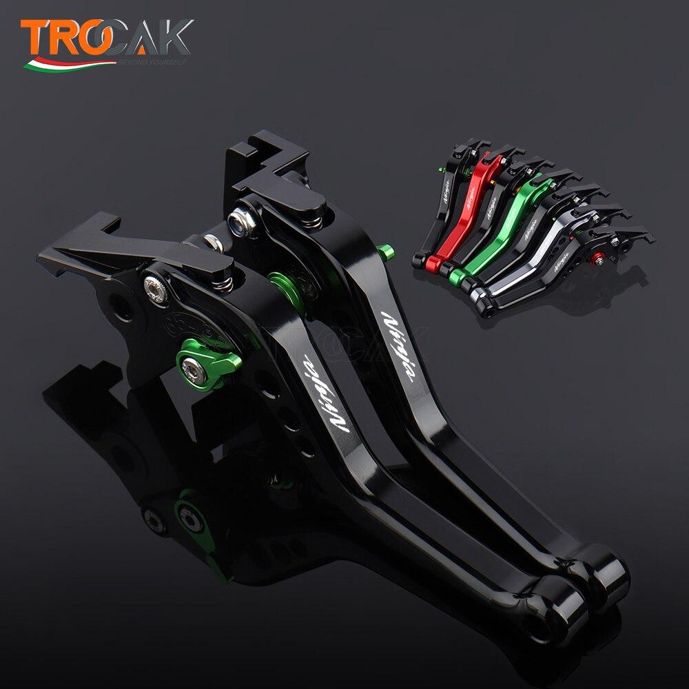 أذرع الفرامل والقابض ، ملحقات دراجة نارية CNC ، قابلة للتعديل ، قصيرة ، لكاواساكي نينجا 250 300 Ninja 400 Z400 Z250