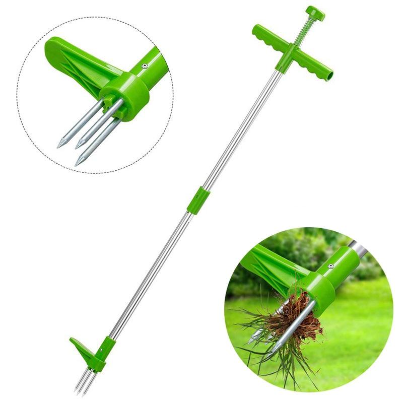 ロングハンドル除草機、耐久性のある庭の芝生の草刈り機、庭の草の根の引き手ツール