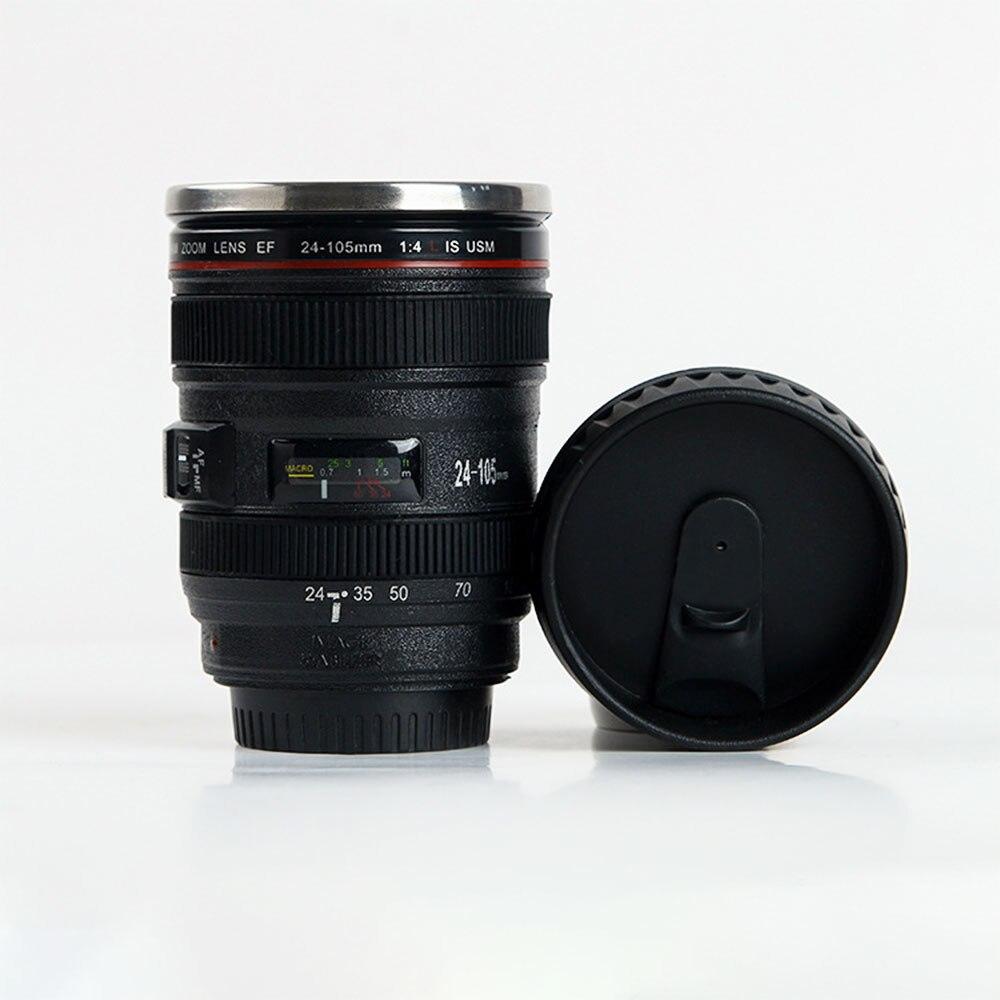 400ML lentes de cámara creativas taza de acero inoxidable tazas con revestimiento taza para té y café tazas con tapa regalos Thermocup Thermo taza
