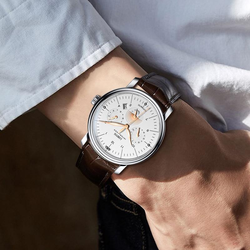 Luxury Brand Switzerland LOBINNI Men Watches Perpetual Calender Auto Mechanical Men's Clock Sapphire Leather relogio L15008-9 enlarge