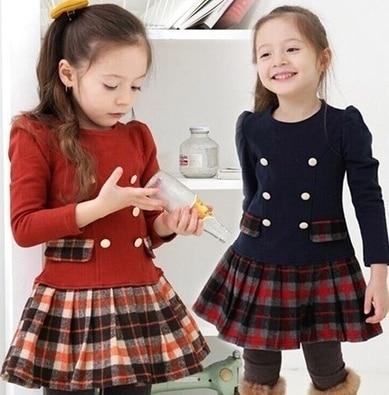 2020 New Fashion Children Clothing Autumn Winter Baby Girls Plaid Long Sleeve Princess Dress Party Dress Tutu Dresses