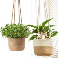 cotton rope wall hanging woven planter storage basket home garden ornament