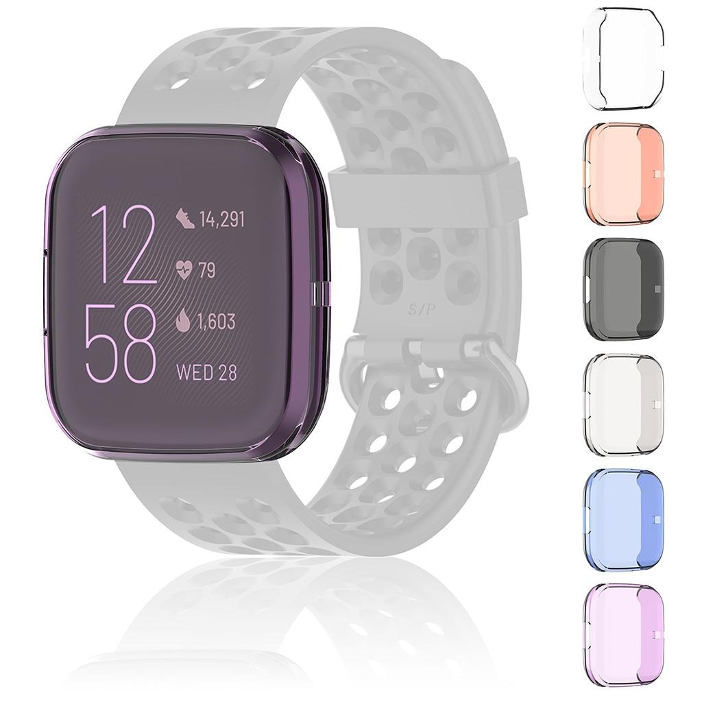 Protector Soft TPU cubierta de la caja para Fitbit viceversa 2 reloj inteligente cobertura completa Protector de Shell Protector de silicona Protector del Casos 6 colores