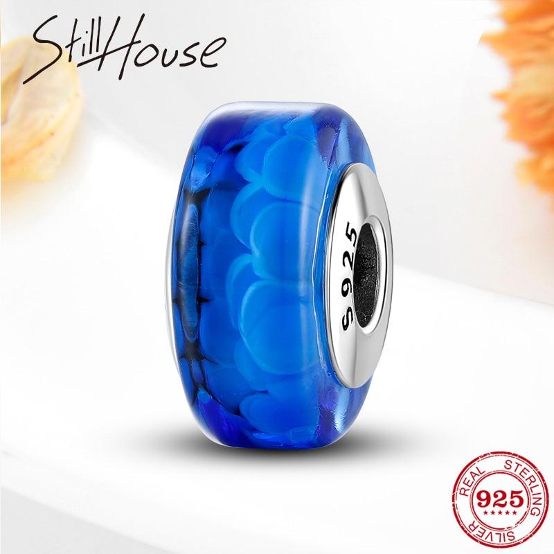 Nuevas cuentas de cristal de Plata de Ley 925 con forma redonda de color azul marino para pulseras Pandora originales