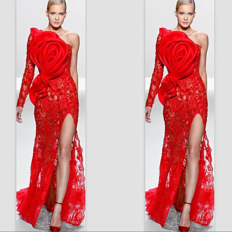 Rojo 2019 vestidos formales de celebridades sirena de un solo hombro de manga larga de encaje volantes hendidura vestidos largos de Noche vestidos de alfombra roja