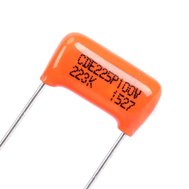 Condensadores de tono bajo para guitarra eléctrica, color naranja, 0.022UF, 100V