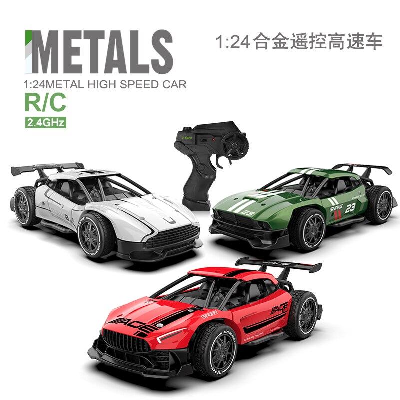 سيارة سباق معدنية يتم التحكم فيها عن بعد للأطفال ، 2.4G 4CH ، سيارة تحكم عن بعد ، سيارة كهربائية صغيرة RC مع جهاز تحكم عن بعد ، 1/24