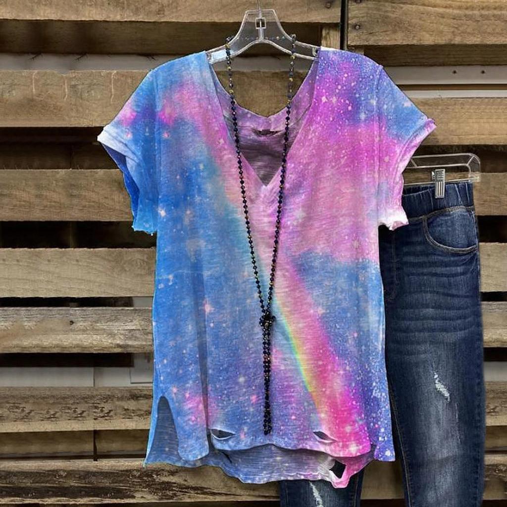 Модные женские блузки с v-образным вырезом, летние, большие размеры, свободные, с открытыми плечами, с галстуком-краской, женская футболка с м...