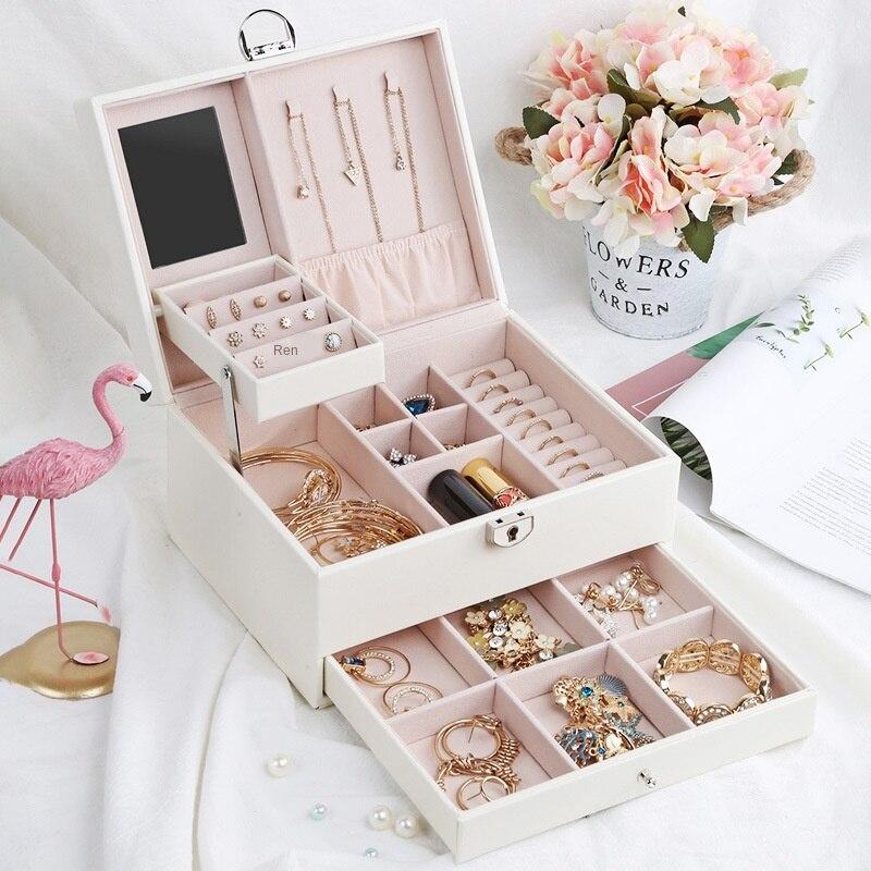 2020Top grado cajón joyería collar Amp multicapa Pulling Jewelry Box portátil multifuncional almacenamiento caja personalizable