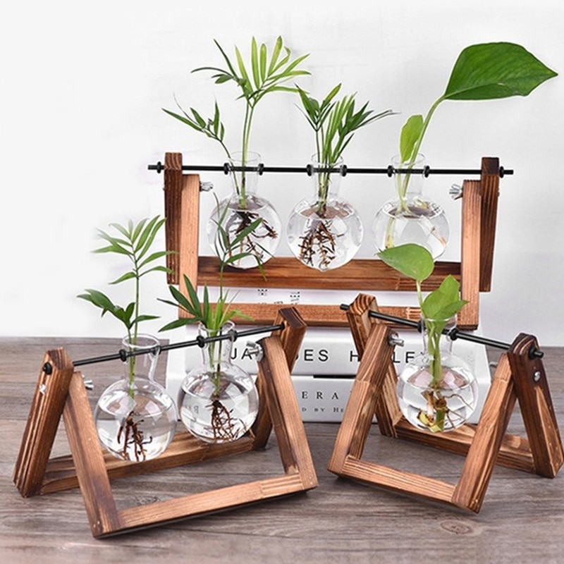 Hidropónica florero transparente florero de vidrio de madera de decoración de escritorio familia resistente hermoso florero botella de vidrio