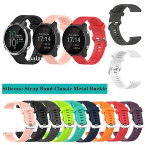 20mm Silicone Watch Band Classic Metal buckle Strap for Garmin Forerunner 645 645M 245 245M for Venu Sq Replacement strap