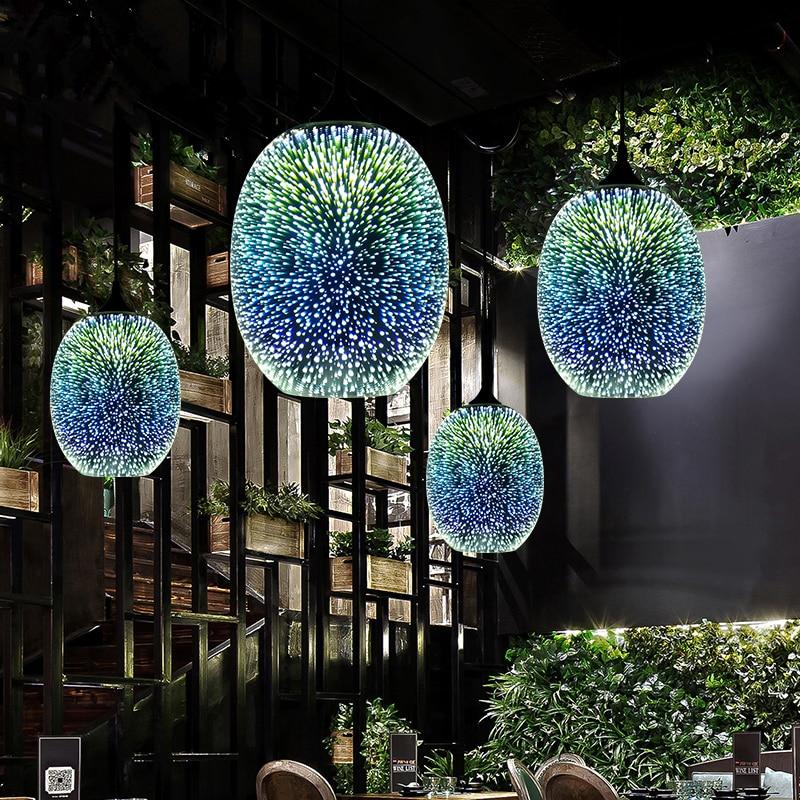 Nórdico 3D colorido romántico cielo estrellado colgante Pantalla de Cristal colgante pantalla dormitorio restaurante sala de estar decoración de Navidad