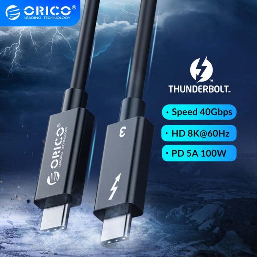 ORICO USB C a USB-C Cable Thunderbolt3 cable 40Gbps de transferencia de datos de carga rápida 5A PD 100W 8K 60HZ HD Video para el MacBook Pro