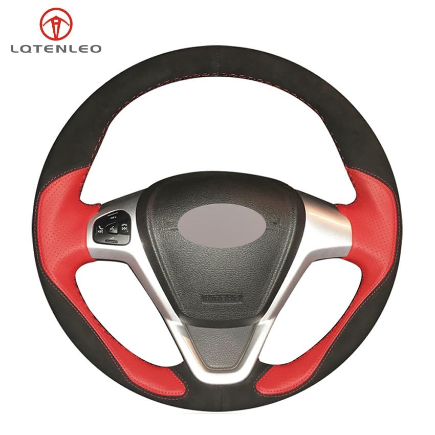 LQTENLEO rojo de cuero de gamuza negro protector para volante de coche para Ford Fiesta 2008-2016 Figo 2012-2014 Ecosport 2013-2017 B-Max 2011