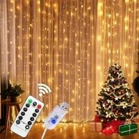 festoon garland curtain for room new years wedding christmas lights decorations indoor window usb 3m fairy lights decor xmas