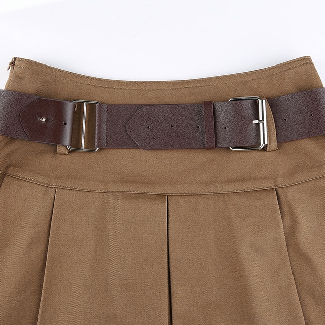 Brown Pleated Skirt with belt