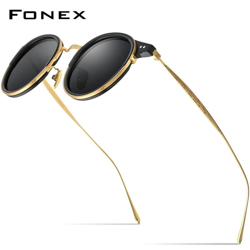 FONEX التيتانيوم خلات نظارات شمسية مستقطبة للرجال 2022 جديد ريترو خمر مستديرة UV400 النظارات الشمسية النساء الكورية ظلال 850