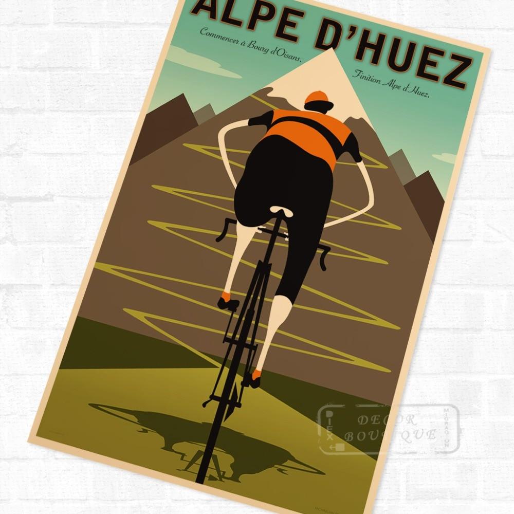 Alpe горный велосипед езда на велосипеде Винтаж ретро крафт-плакат Декоративные DIY настенные холст наклейки домашний бар художественные плак...