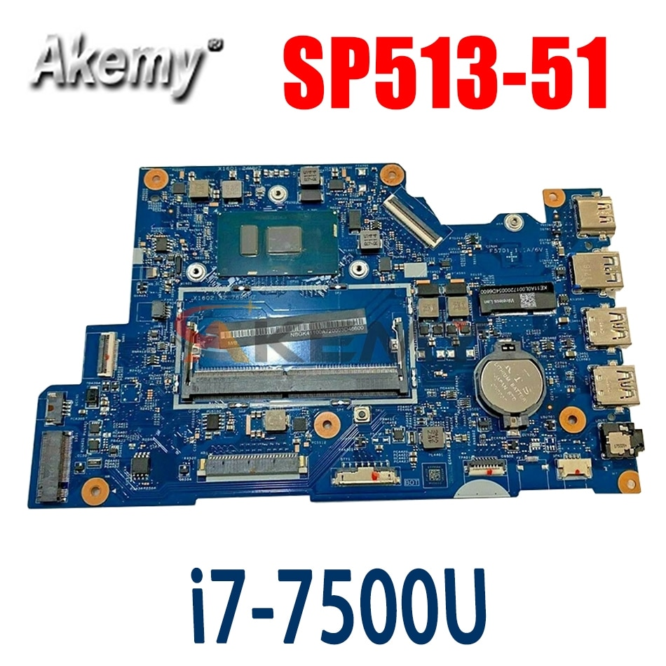 Akemy اللوحة لابتوب أيسر أسباير SP513-51 i7-7500U اللوحة 16801-1 SR2ZV DDR4