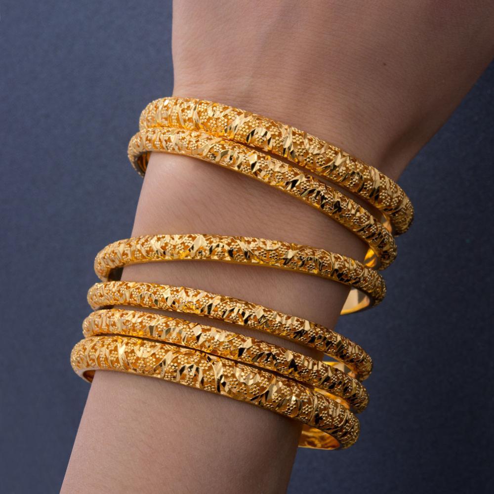أساور إثيوبية ذهبية اللون للنساء والفتيات ، عرض 6-8 مللي متر ، 6 قطعة ، أساور دبي الذهبية ، هدايا نسائية أفريقية