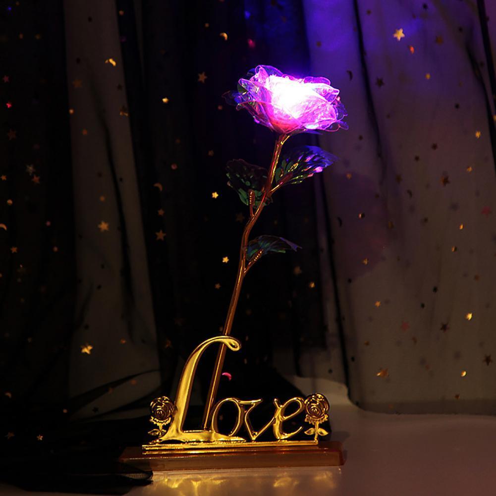 Creative Simulation 24K Foil Plated Rose Flower Valentine Gift Home Decoration