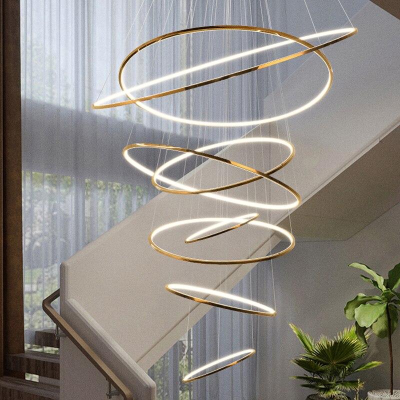 دوبلكس بناء ضوء ثريا فاخرة فيلا غرفة المعيشة الثريا الحديثة الحد الأدنى نمط دائري الدرج الثريا