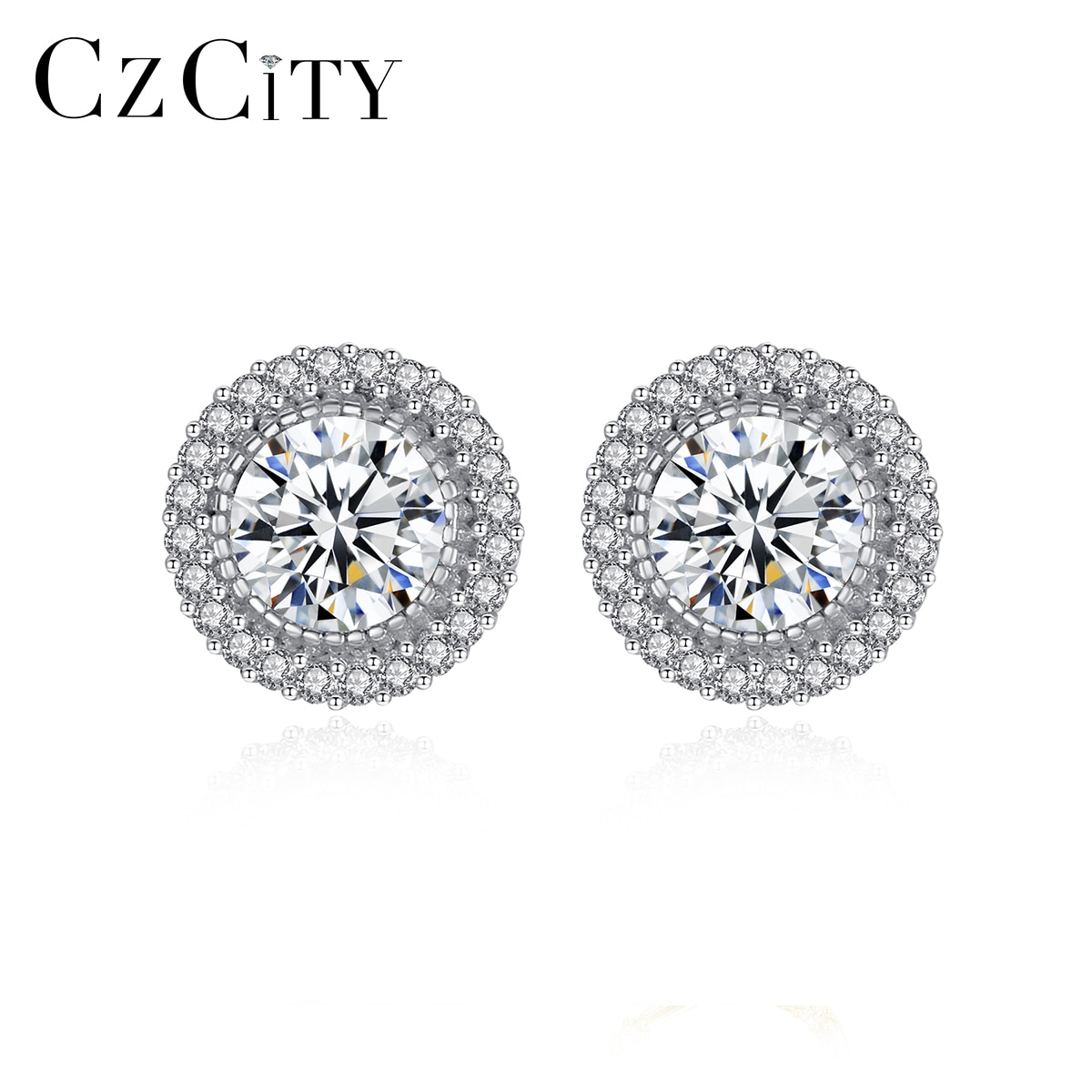 CZCITY Real 925 Sterling Silver Simple Round Shiny Stud Earrings for Women Classic Clear CZ Stone Ti