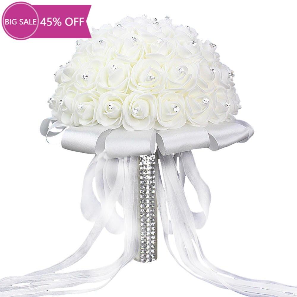 Artificial Wedding Bouquets Hand Made Rose Flower Rhinestone Bridesmaid Bridal Wedding Bouquet mariage wedding accessories недорого