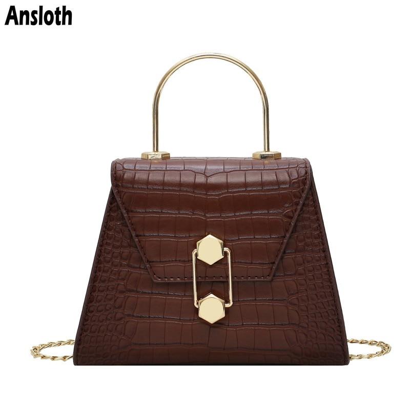 Ansloth Stone Pattern Shoulder Bag Women Quality PU Leather Crossbody Bag Lady Luxury Design Messenger Bag Female Handbag HPS816