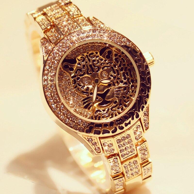 Mulheres Relógio de Diamantes Senhoras Vestido Pedra De Cristal Tigre da cópia do Leopardo de Strass Pulseira Relógio de Pulso de Aço Relógio relogio feminino