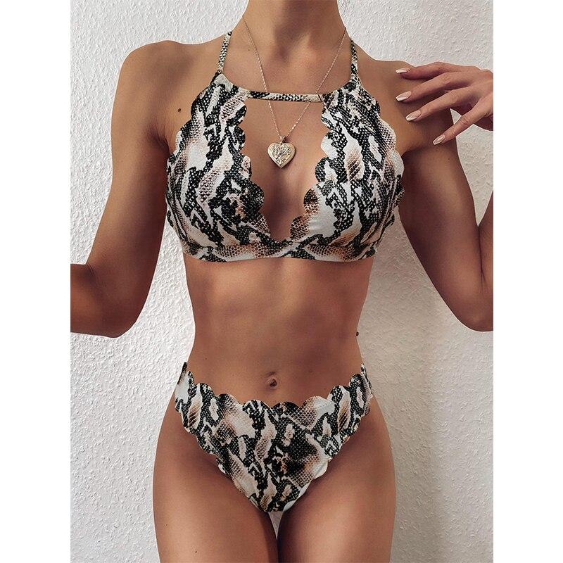 Serpent imprimé Bikini ensemble taille haute maillot de bain femme 2020 nouveau été maillot de bain deux pièces maillot de bain pour les femmes trou de serrure bain