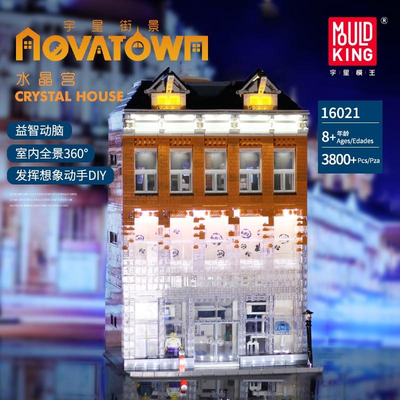 MOC 3770 Uds City Streetview serie Crystal House Glisten modelo Building Kit bloques juguetes para niños regalos de navidad