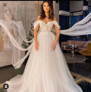2021 Designer Vestidos De Novias Off the Shoulder Sweetheart Appliqued Beaded Short Sleeve A Line Wedding Dresses