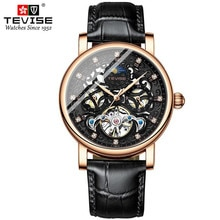 TEVISE Tourbillon Watches Men Top Luxury Brand Automatic Mechanical Watch Waterproof Rose Gold Leath