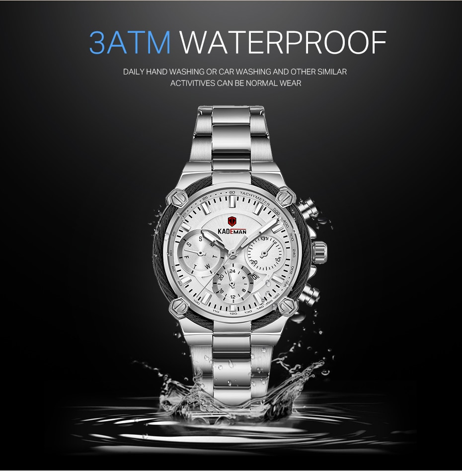 KADEMAN New Lady Watch TOP Brand Luxury Business Women Wristwatch 3TAM Full Steel Quartz Watch Fashion Female Relogio de senhora enlarge